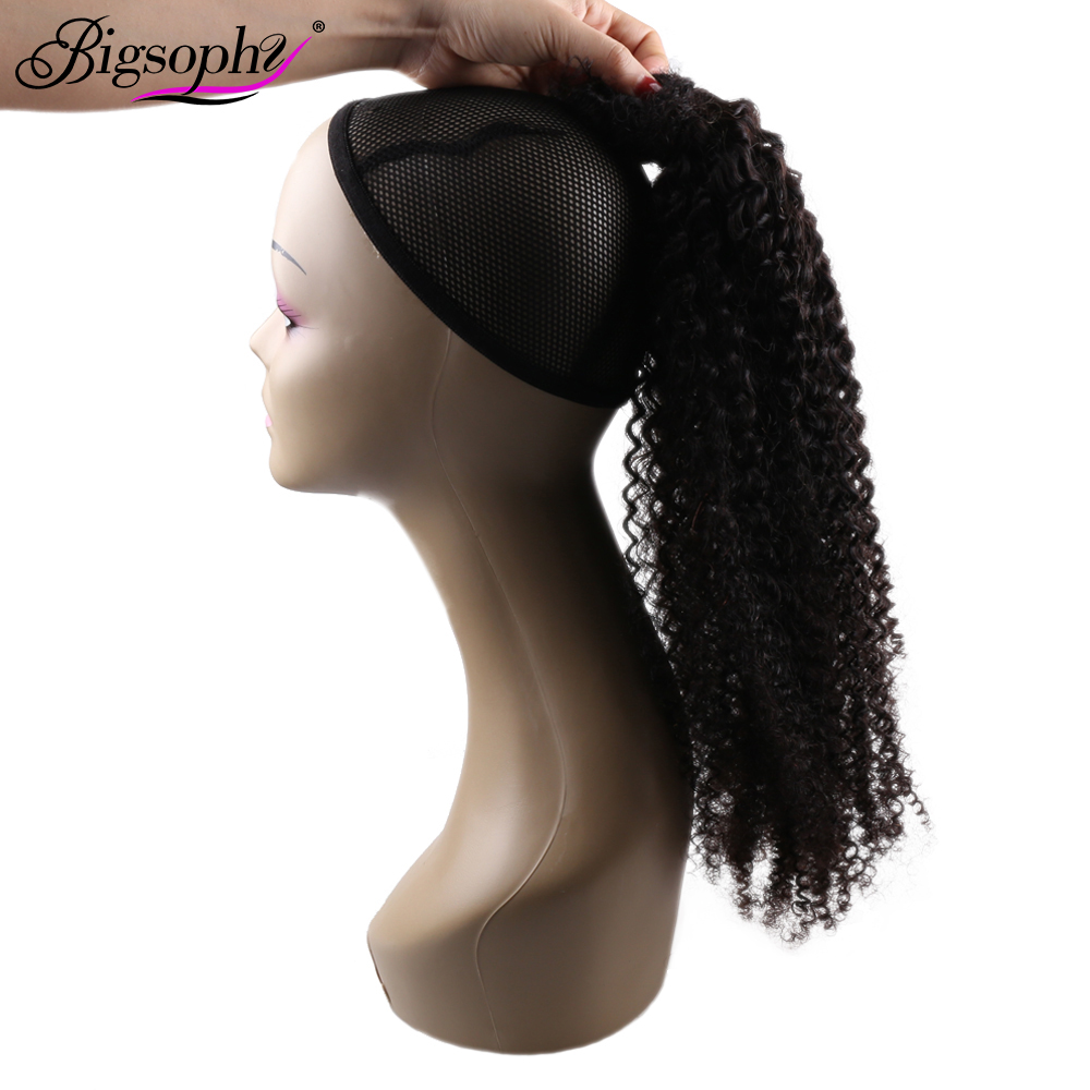 Ponytail Human Hair Extensions Kinky Curly Brazilian Human Hair Wrap Around Ponytail Clip In 100G/Set Remy Hair For Women