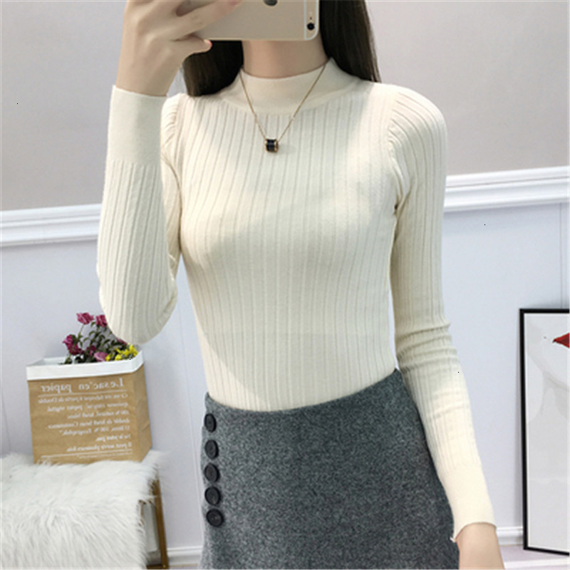 Stripe All Match O-Neck Slim Solid Fashion Warm Knitted Sweater Pullover Autumn Knitwear Sueter Mujer Long Sleeve Women New 2019