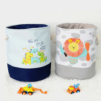 Cute Animal Printed Baby Laundry Basket With Rope Handle For Dirty Clothes