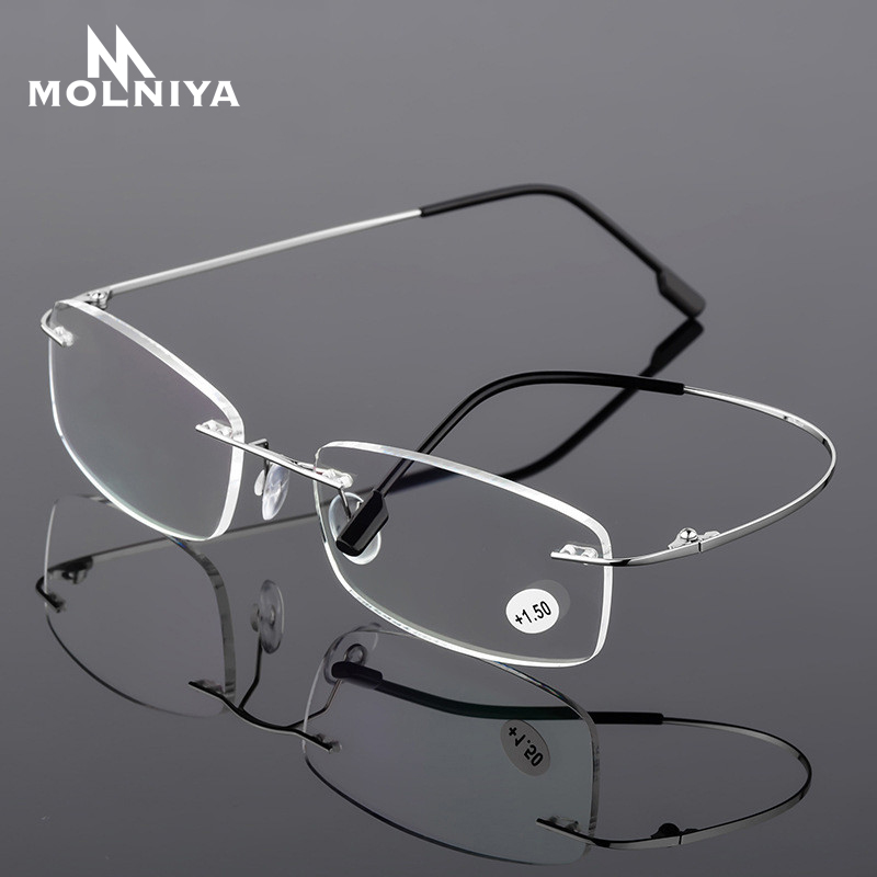 2020 Ultralight TR90 Memory Titanium Rimless Reading Glasses Men&Women Presbyopic Eyeglasses +1.0 +1.5 +2.0 To+3.5 +4.0
