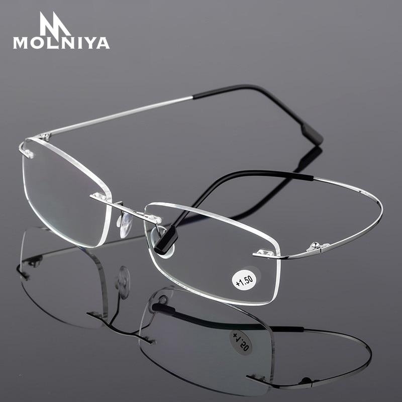 2020 Ultralight TR90 Memory Titanium Rimless Reading Glasses Men&Women Presbyopic Eyeglasses +1.0 +1.5 +2.0 To+3.5 +4.0