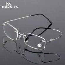 Gafas de lectura TR90 de titanio para hombre y mujer, anteojos para leer unisex, ultralivianos, sin montura, adecuados para para presbicia, ditropía +1.0 +1.5 +2.0 to+3.5 +4.0