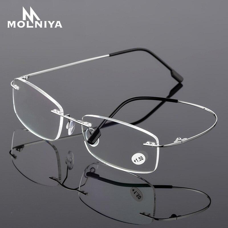 2020 gafas de lectura ultraligeras TR90 de titanio sin montura gafas presbiopes para hombres y mujeres + 1,0 + 1,5 + 2,0 + 3,5 A + 4,0 +