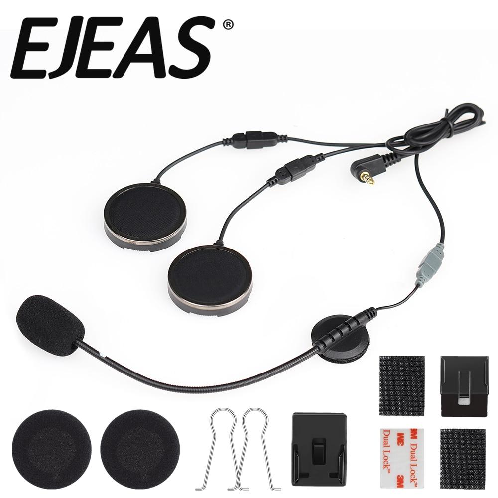 Official Helmet Microphone Headset With Foam Speaker Covers Microphone Sponges & Helmet Clamp For EJEAS Quick 20