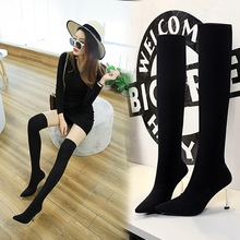 Sock Boots Women Over The Knee Boots Schoenen Vrouw Winter Shoes Ladies Knee High Boots High Heels 8CM Woman Casual Autumn Shoes cheap zdravko Mesh (Air mesh) Over-the-Knee Fabric Fits true to size take your normal size Pointed Toe Spring Autumn Slip-On