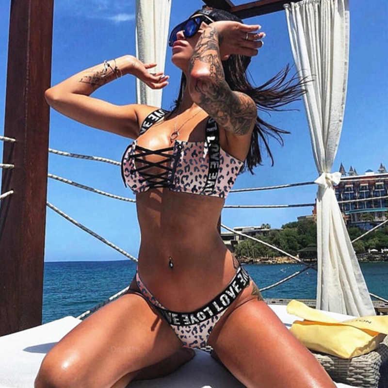 Brief Print Mini String Bikini Set 2019 Vrouwen Leopard Push-Up Bh Bandage Bikini Plus Size Driehoek Badmode Badpak