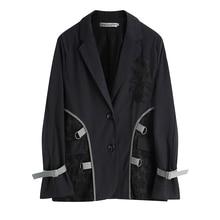 IMucci 2020 diseño bordado chaqueta suelta para mujer manga larga suelta dividida encaje nueva primavera mujer chaqueta Tide TM1180