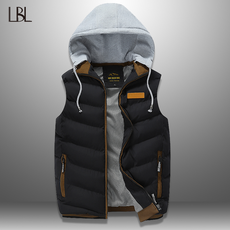 2019 New Men Vest Autumn Winter Casual Mens Sleeveless Jacket  Warm Down Vests Waistcoat Hooded Men Top Hoodies Chalecos Homme