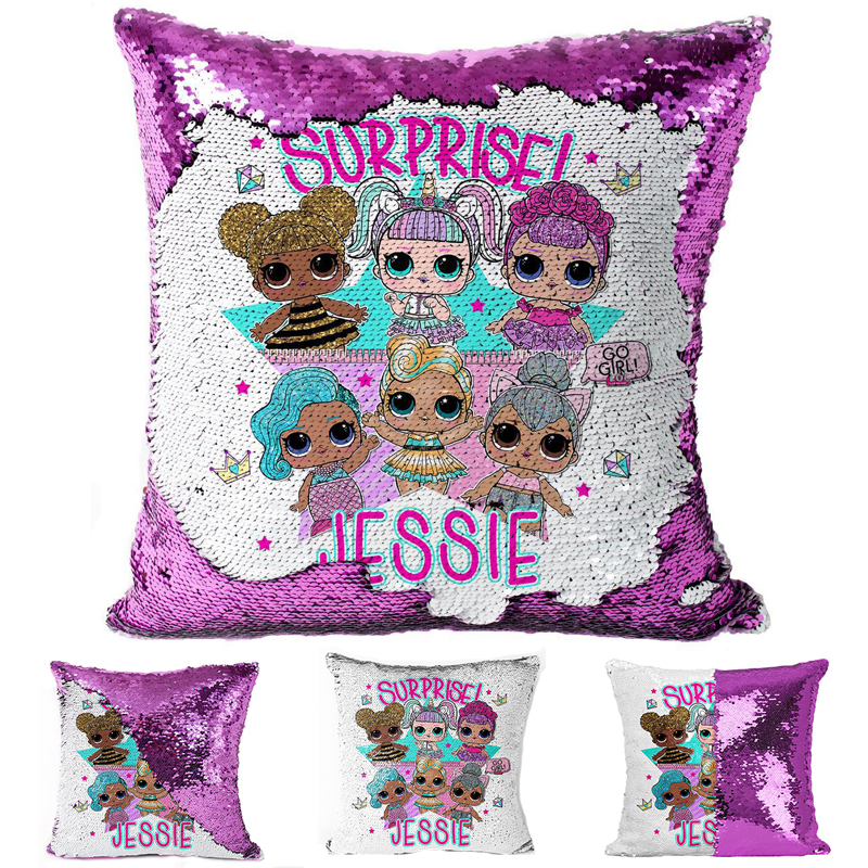 LOL Surprise Dolls New Printing Pillowcase Confetti Two-color Sequins Cartoon Pillowcase Anime Sequins Pillow Cushion Cover 2S72