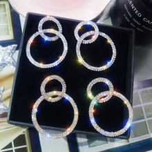 New Crystal Drop Earrings Luxury Shining Gold Silver Color Color Round Rhinestone Dangle Earring for Women Wedding  Jewelry