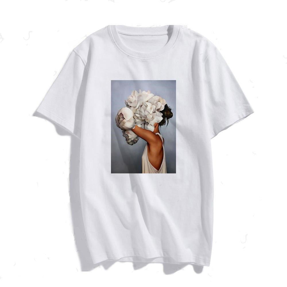 SONDR Tshirt Sexy Flowers New Cotton Harajuku Aesthetics Feather Print Short Sleeve Tops & Tees Fashion Casual Couple T Shirt