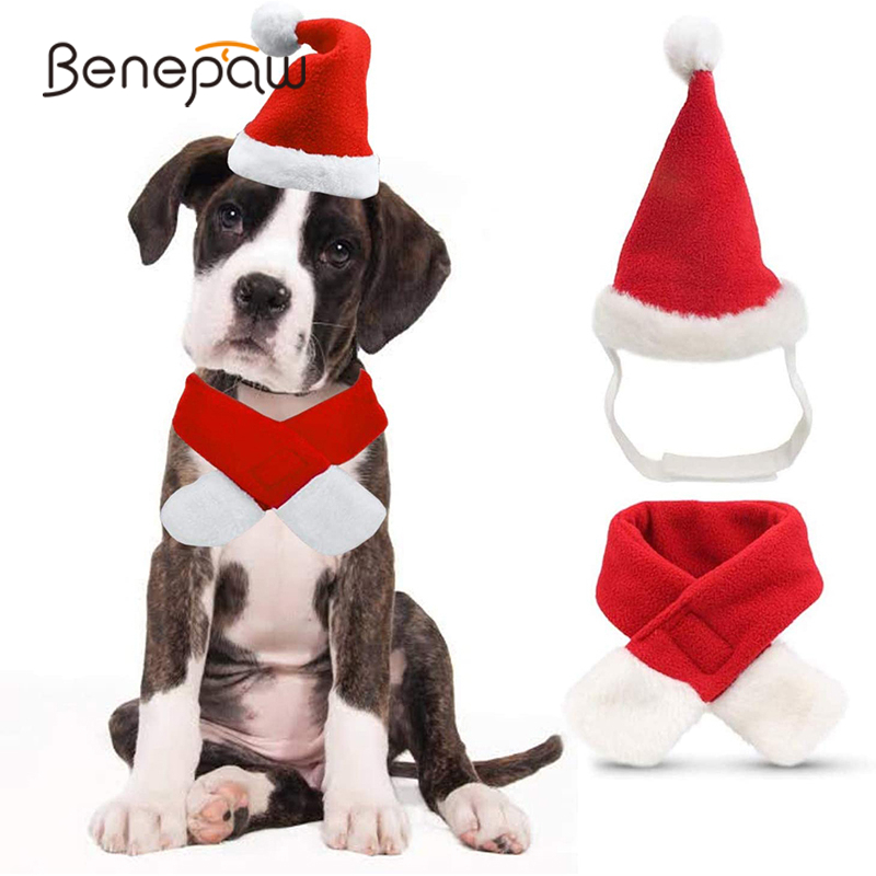 Benepaw Cute Christmas Dog Hat Scarf Set Comfortable Santa Claus Cap Winter Warm Pet Costume Outfit Party Event Accessories