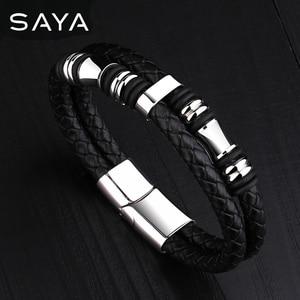 Men Leather Bracelets Bangle D