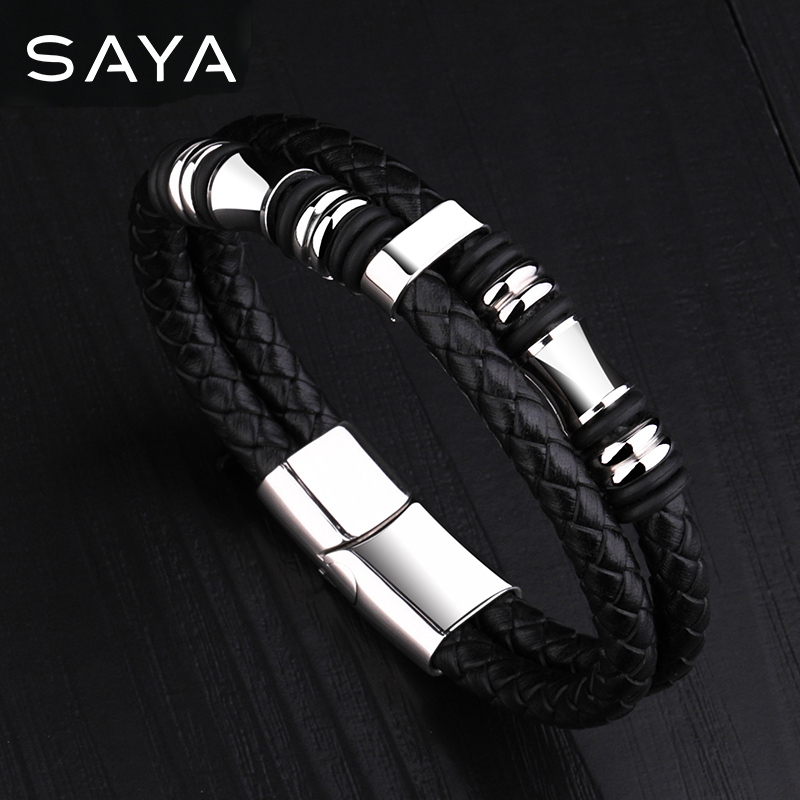 Men Leather Bracelets Bangle Double Layer with Titanium Steel Magnet Clasp Length 17.5cm-22.5cm, Free Shipping, Customized