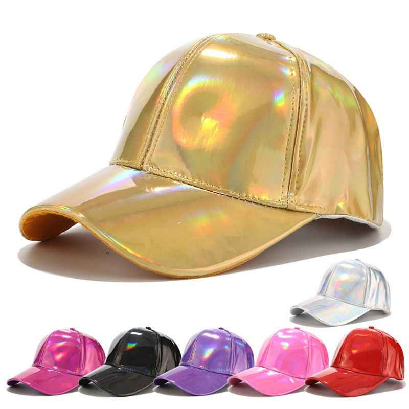 Women Men Faux Leather Baseball Cap Glitter Metallic Holographic Rainbow Reflective Hip Hop Adjustable Strapback Peaked Hat
