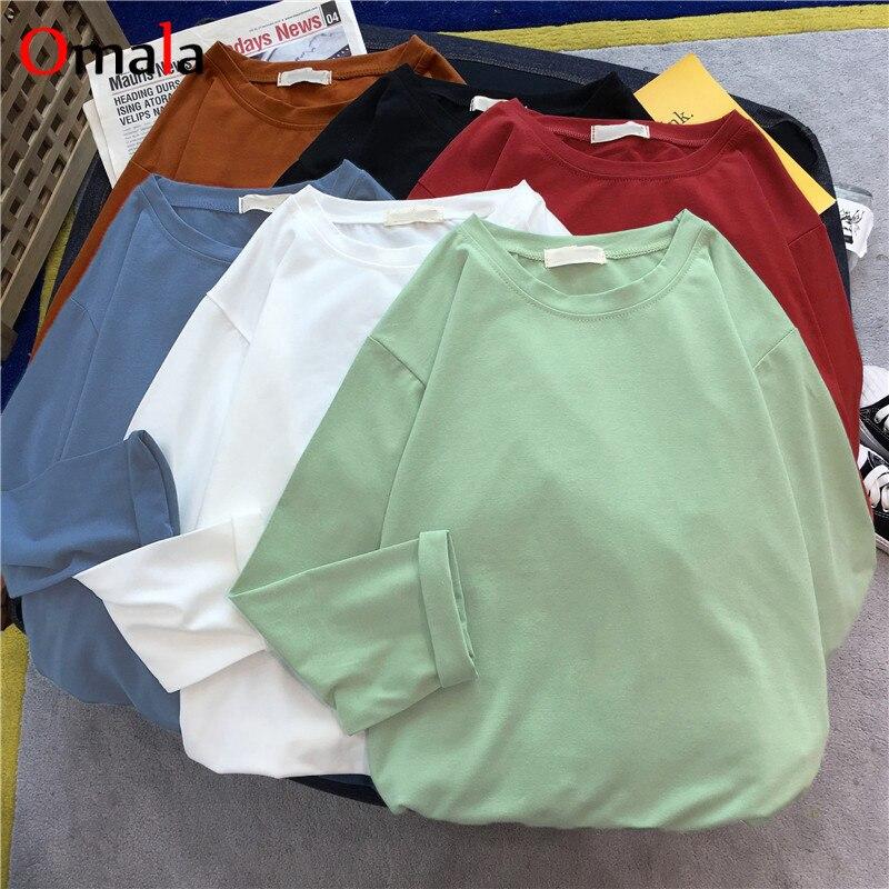 2020 Spring Solid Color Harajuku T Shirt Women Long Sleeve Basic Korean Tees Tops Femme Long Sleeve Black White Tshirt Feminina