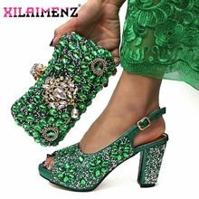 2019 크리스마스 제한 아프리카 여성 신발 일치하는 가방 녹색 색상 고품질 이탈리아어 숙 녀 편안한 발 뒤꿈치 파