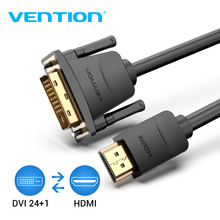 Vention HDMI إلى DVI كابل DVI D 24 + 1 دبوس ذكر إلى ذكر 1080P HD ثلاثية الأبعاد مهائي كابلات لمراقبة PS4 العارض عالية السرعة hdmi كابل