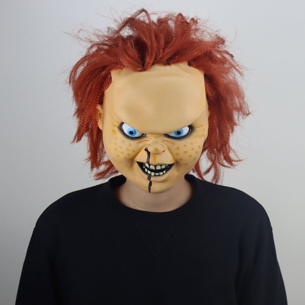 Máscara de Cosplay de Horror para niños, máscaras de látex Chucky, disfraz de fiesta de Halloween, accesorios