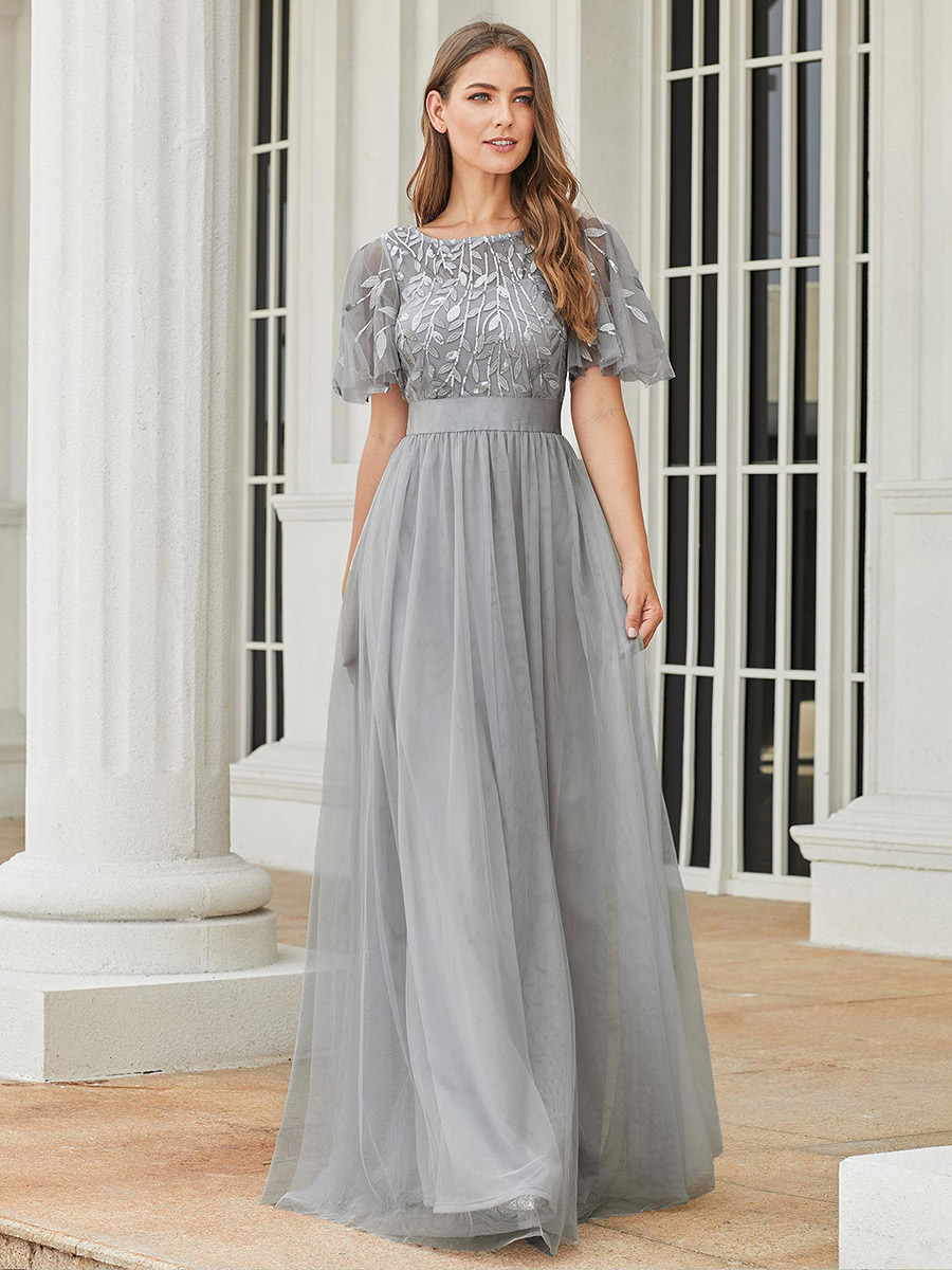 Formal Dresses Short-Sleeve Elegant Gowns Robe-De-Soiree Sparkle Ever Pretty Long Women
