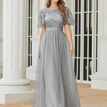 Formal Dresses Short-Sleeve Elegant Gowns Robe-De-Soiree Sparkle Ever Pretty A-Line Long
