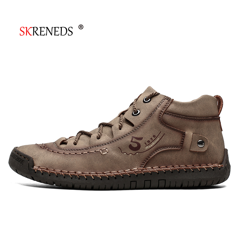 SKRENEDS Brand New Comfortable Mens Casual Shoes  Men Shoes Quality Leather Shoes Men Flats Moccasins Shoes Big Size 38-48