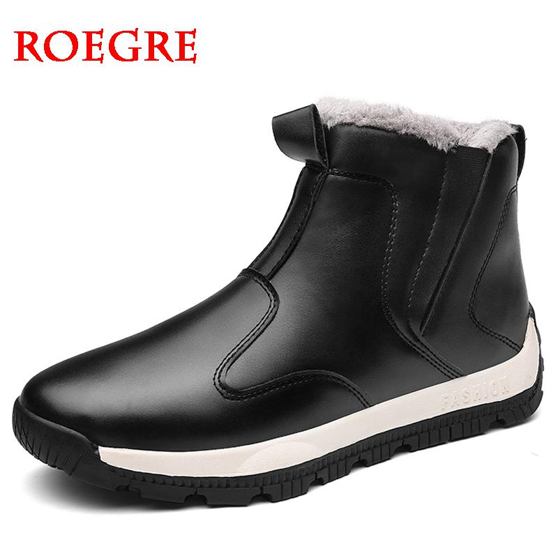2019 New Men Boots Winter Outdoor Sneakers Mens  Leather Snow Boots Waterproof Warm Plush Boots Snow Ankle Boots Big Size 39-48