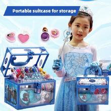 Disney Frozen 2 Elsa Anna Princess Pretend Play Toy Fashion Beauty  Water-solubility Makeup Set Girl Birthday Gift Toy For Kids