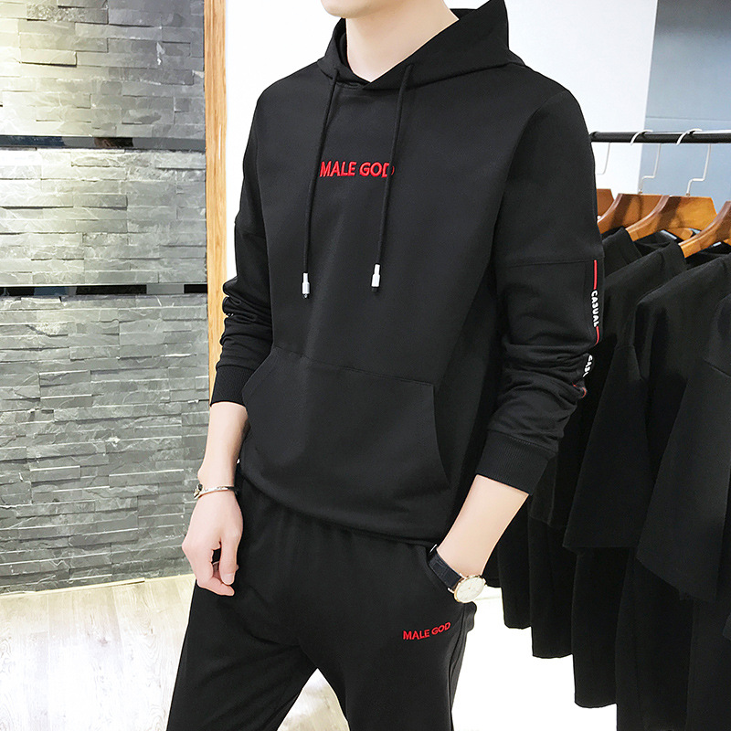 Spring And Autumn MEN'S Hoodie Online Celebrity Popular Brand Leisure Sports Suit Teenager Handsome A Set Of Clothes Men'S Wear