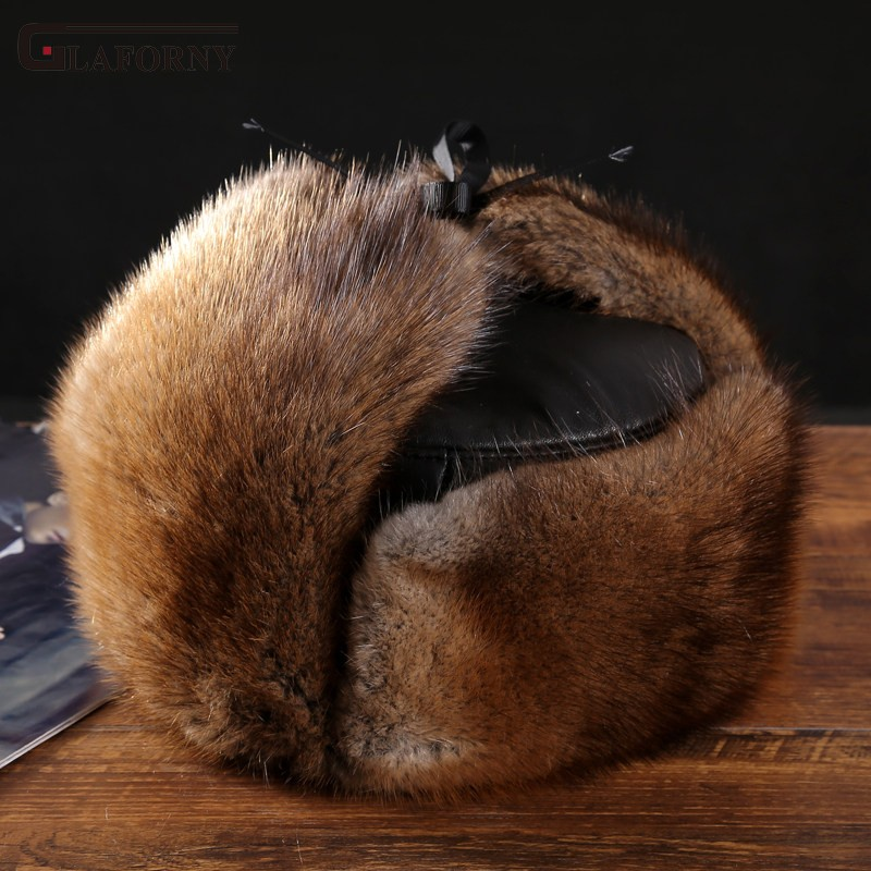Glaforny Sheep's-Clothing Leifeng-Hat Mink-Fur Winter Anti-Snow Cotton-Hat Ear-Protection