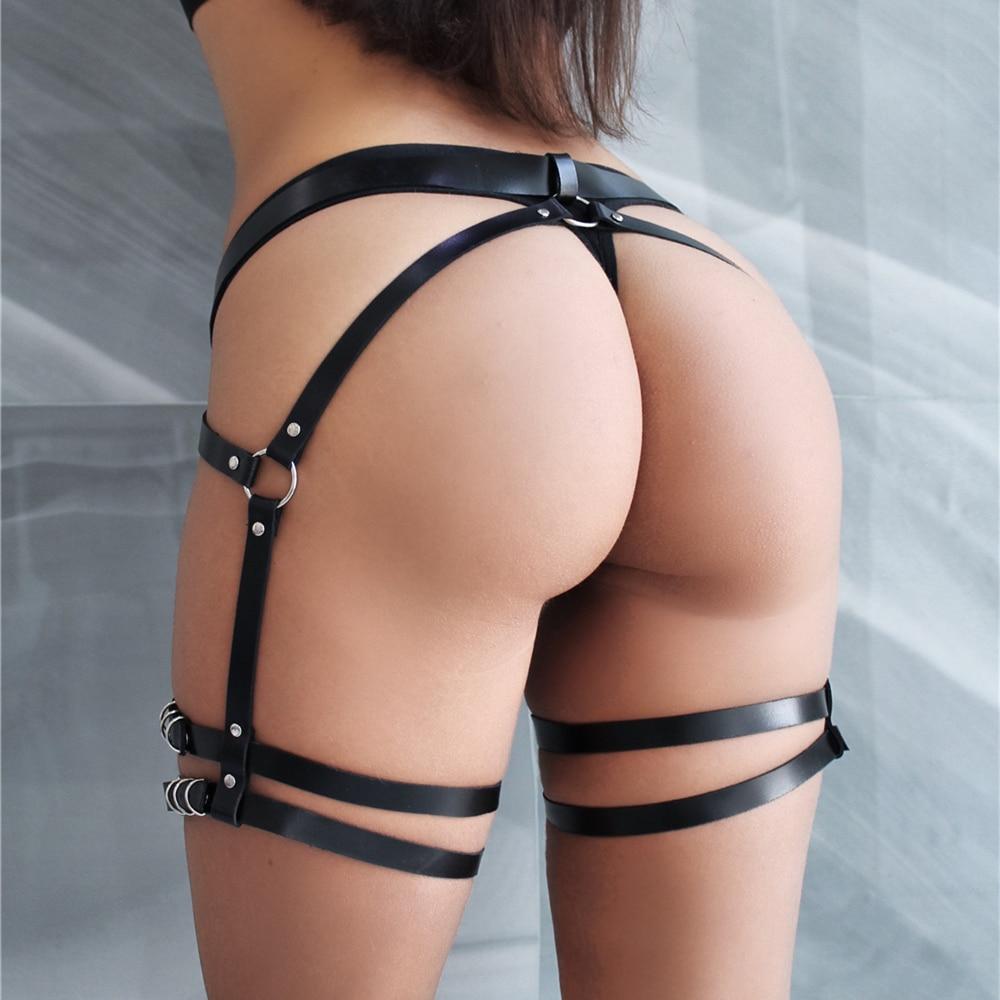WKY Sexy Lingerie Adjustable Garter Belt Leather Harness Belt Lingerie Sexy Hot Erotic Straps Leg Harness Punk BDSM Bondage