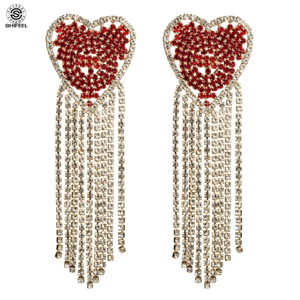 SHIFEEL 2019 New Fashion High quality Heart-shaped Rhinestone Tassel <font><b>Long</b></font> <font><b>Earrings</b></font> Bohemia <font><b>Sexy</b></font> Hyperbole <font><b>Women</b></font> jewelry Catwalk image