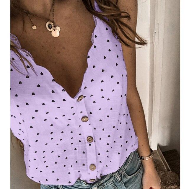 2021 mujeres Sexy Polka Dot blusa elegante camisa cuello en V botón sin mangas, Tops de verano, 2XL de las señoras de la moda ropa de calle Chic Top blusa 5