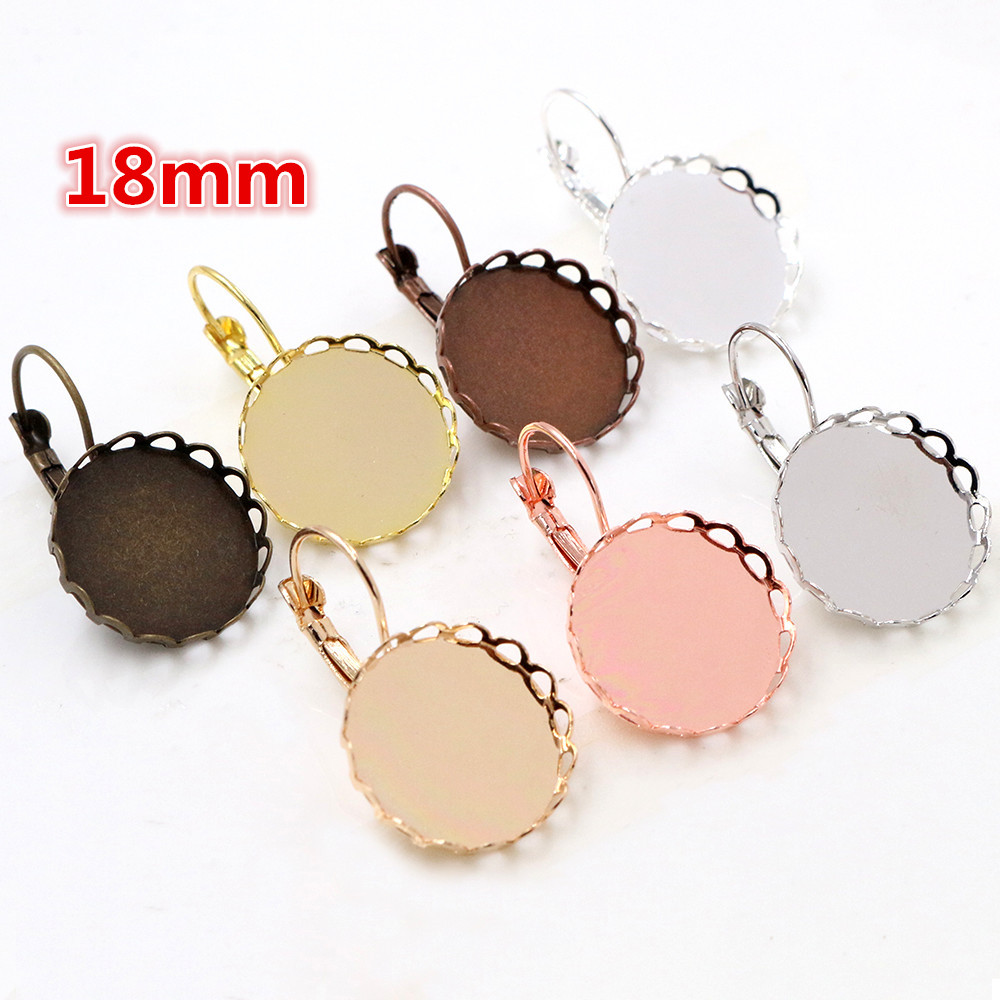 18mm 10pcs 7 Colors Plated French Lever Lace Back Earrings Blank/Base,Fit 18mm Glass Cabochons,Buttons;Earring Bezels