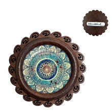 Charm Mandala Wood Brooch Art Picture Henna Yoga Om Symbol Zen Buddhism Glass Cabochon Jewellery For Women Girls Collar Pins(China)