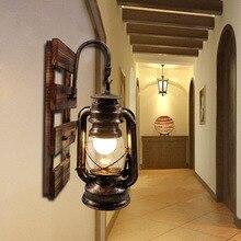 Aplique de pared con Base de madera sólida Vintage, aplique americano para restaurante, Bar, café, pasillo, montado en la pared, accesorio de iluminación led E26/E27