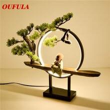 Светодиодная настольная лампа OUFULA, из смолы, для современного офиса, креативное украшение кровати, для гостиной, спальни