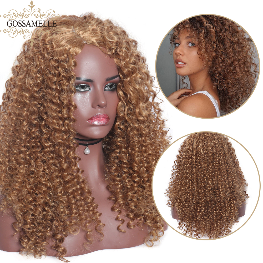 Gossamelle Black Blonde Synthetic Wig Long Kinky Curly Wigs For Women Side Part Heat Resistant Cosplay Wigs