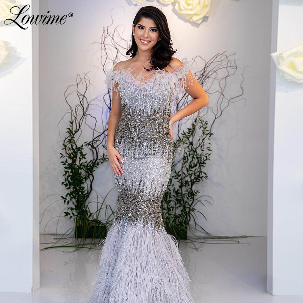 Luxury Feather   Evening     Dress   Abendkleider 2019 Off Shoulder Mermaid Moroccan Party Gown Arabic Middle East Beaded Prom   Dresses