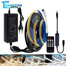 COB LED Strip High Density Flex Led Tape Light 320ledS White 3000k 4000k 6000k DC24V Dimmale Ribbon + Adapter+RF Wireless Remote