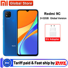 Versão global xiaomi redmi 9c 2gb 32gb smartphone helio g35 octa núcleo 6.53