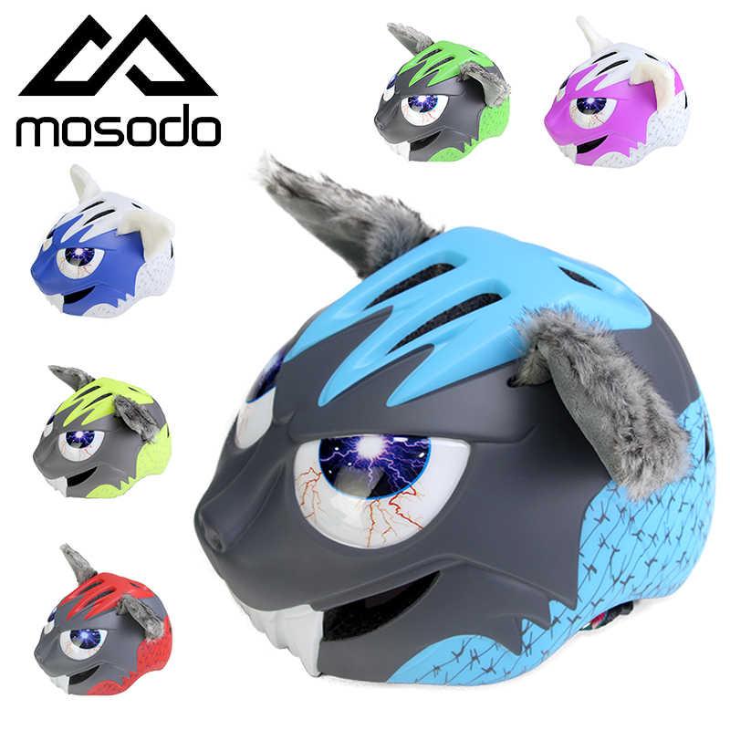 MOSODOหมวกกันน็อคจักรยานเด็กUltralightสเก็ตบอร์ดหมวกนิรภัยเด็กความปลอดภัย 3Dสัตว์จักรยานหมวกกันน็อกขี่จักรยานหมวกLED Back Light