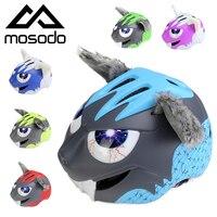 Mosodo Kids Bicycle Helmets Ultralight Children Road Cycling Ski Bike Helmet Back LED Light For Child Riding Skating