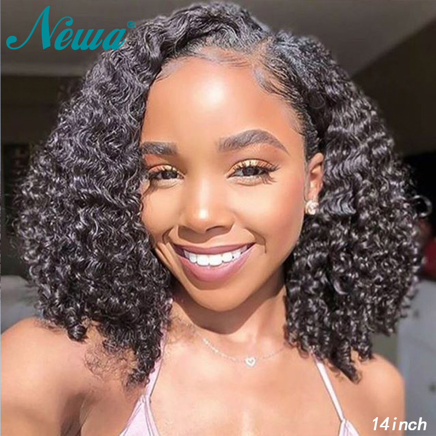 Newa Hair 360 Lace Frontal Wig Pre Plucked With Baby Hair Curly Lace Front Human Hair Bob Wigs Cheap Brazilian Remy Hair Wigs