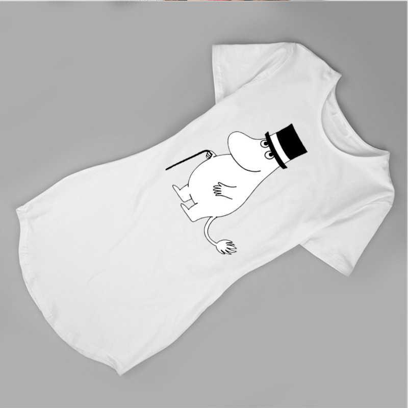 קצר שרוול O-צוואר נדן מיני נשים מעצב שמלת נשים Moomins Printting נשים שמלת קיץ bodycon שמלת שמלות גרפי