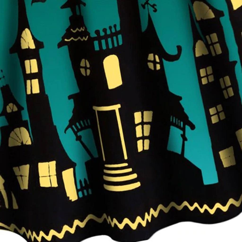 Women Pumpkin Party Print Dress Halloween Long Sleeve V 15