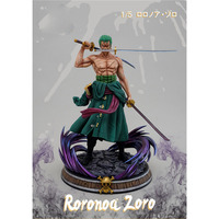 One Piece 1/5 Roronoa Zoro Statue The Straw Hat Pirates Bust Three Blades Two Head Sculptures GK Action Figure Toy BOX 39CM Q213