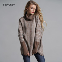 Winter Casual Brown Knitted Turtleneck Sweater Women 2019 Plus Size Loose Cashmere Sweater Pullovers Long Sleeve Tops For Female