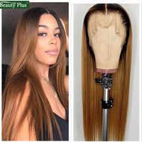 Peluca con malla Frontal de cabello humano brasileño 1B 30 peluca recta de color con malla Frontal, cabello Remy, densidad del 150%, cabello rubio y castaño Frontal 13x4