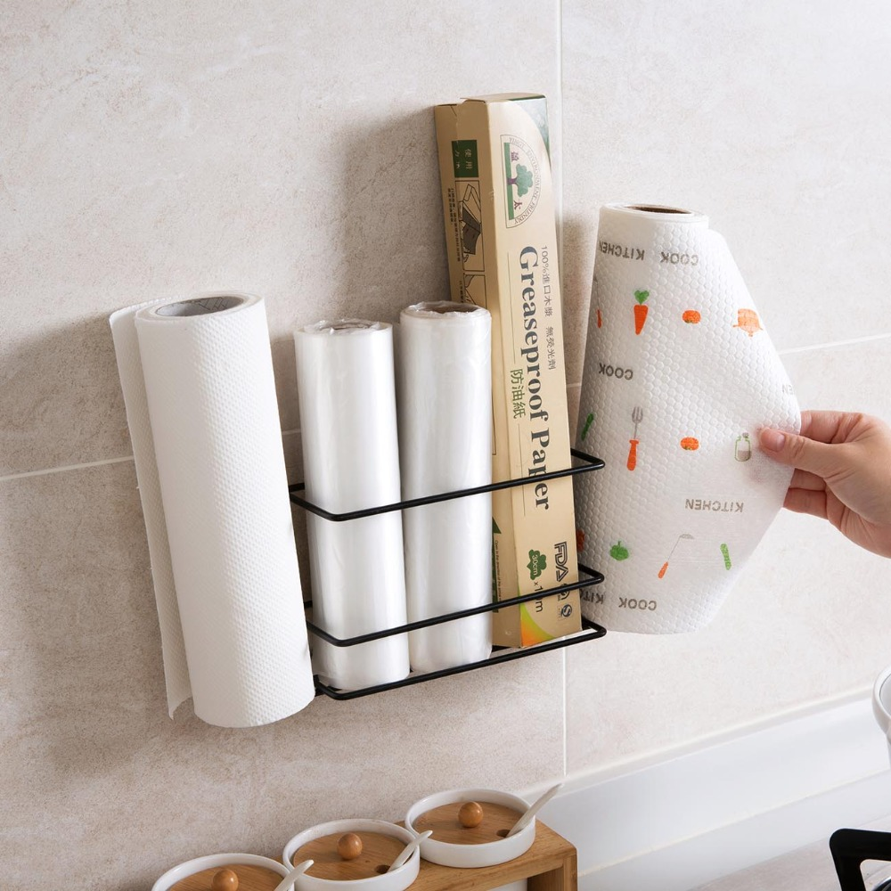 Iron Wall Mounted Kitchen Rack Shelf Fridge Kitchen Organizer Roll Paper Cling Film Holder Seasoning Bottle Storage Rack Shelf